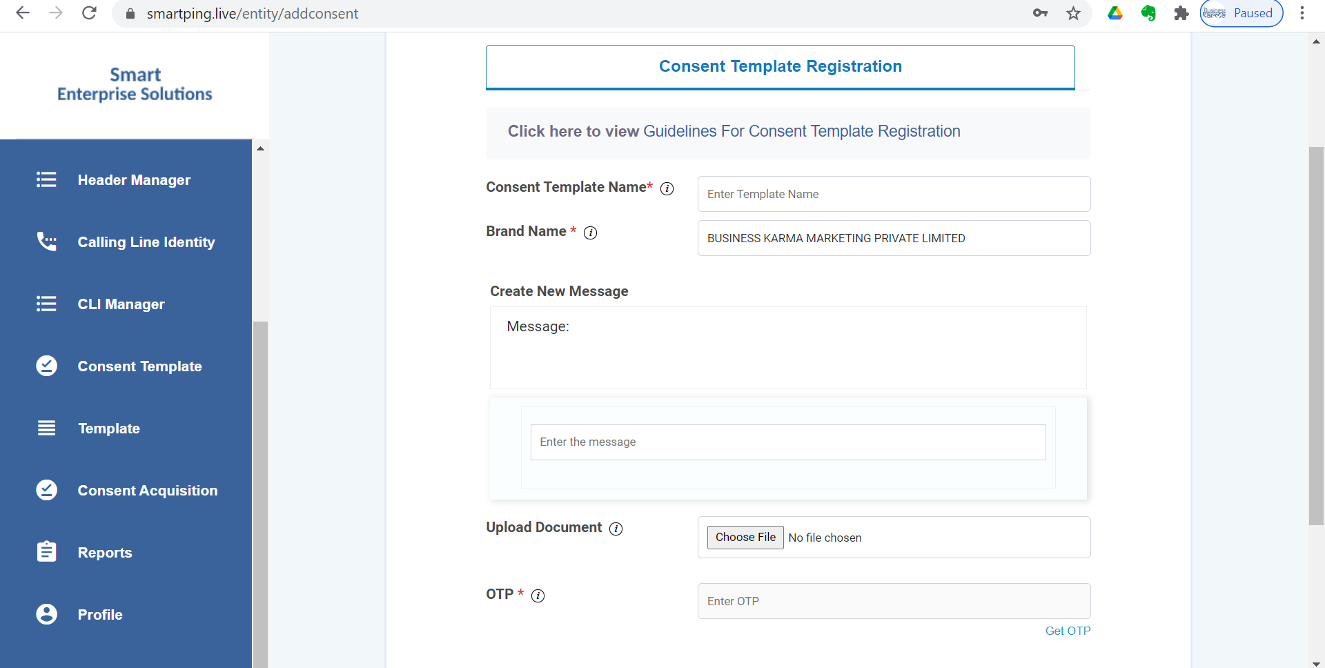 Consent Template Approval process on videocon's Smart Ping portal